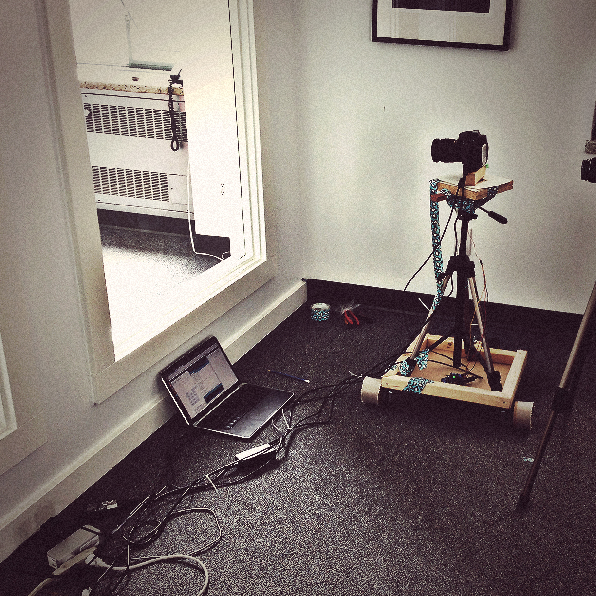Technology. To create the unique time-lapse video featured on our new site, we built a computer-controlled camera dolly that crawled around the office throughout the day to capture our team at work.