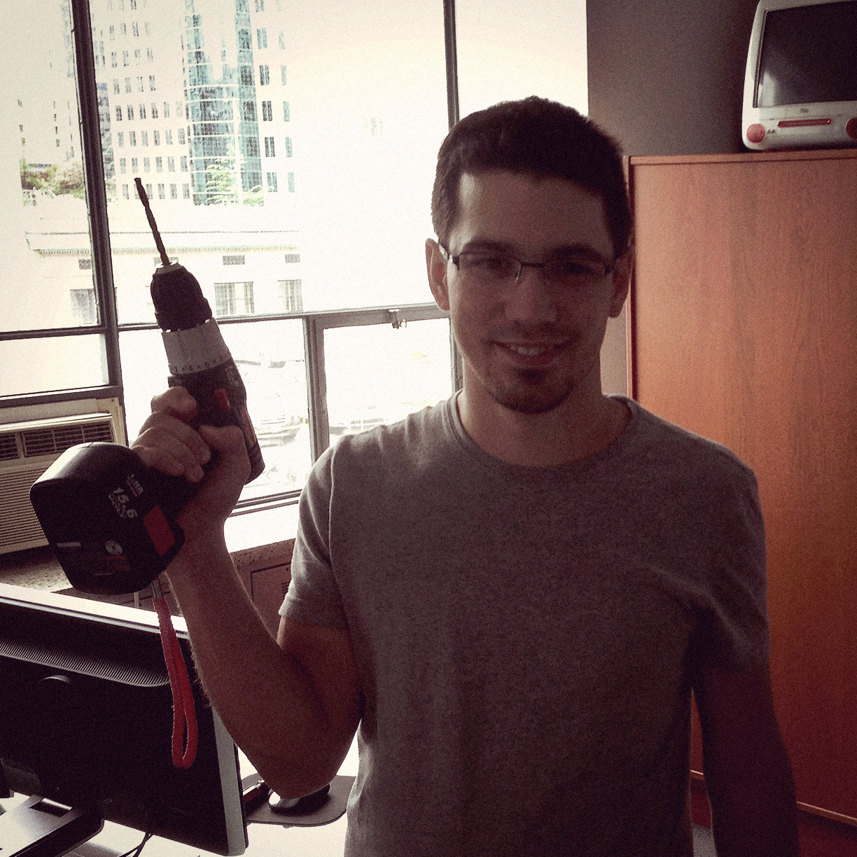 Shoot day. Tyler is ready for any crisis that might require the ability to make precise holes in a rapid manner.